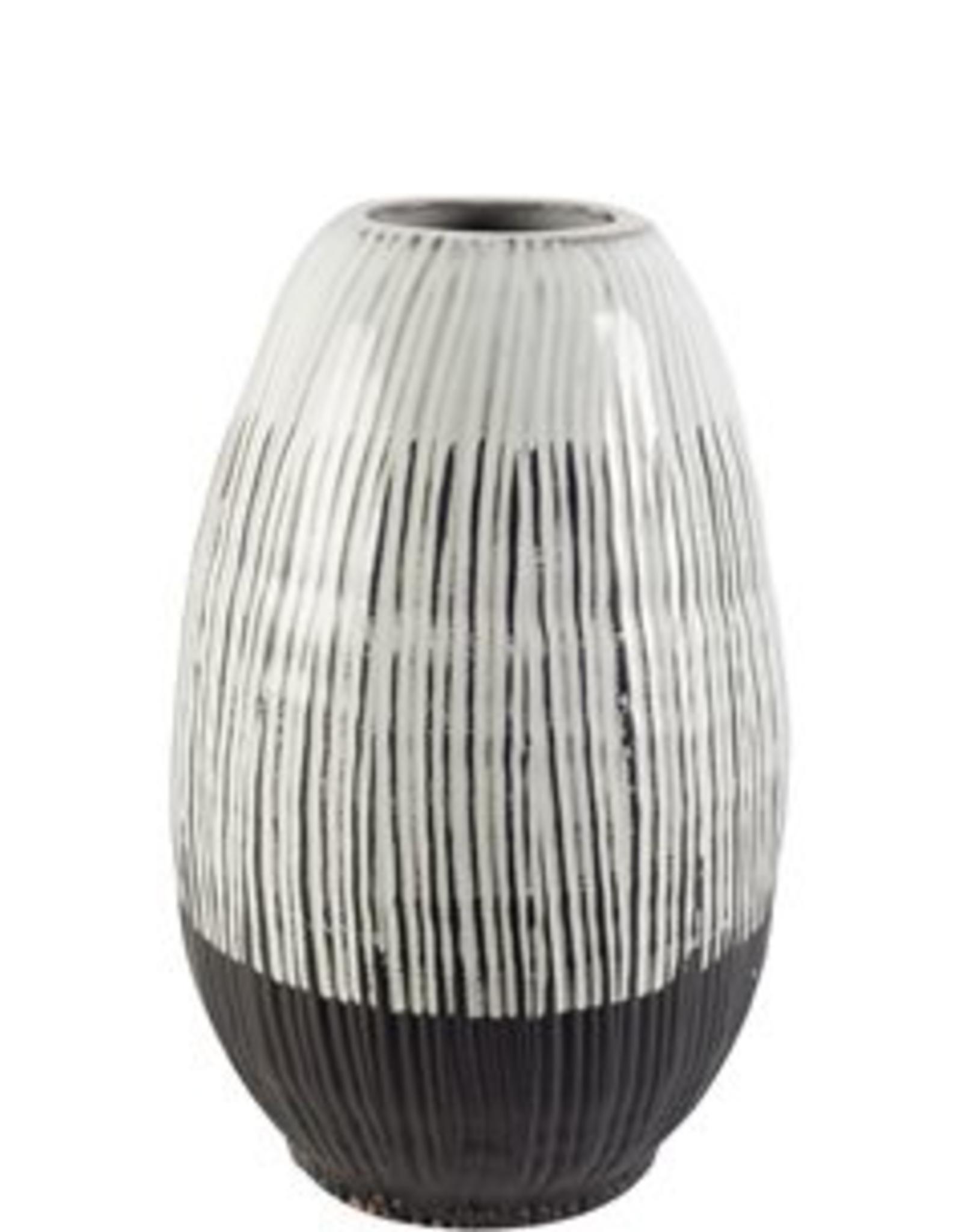 """Ceramic Vase, Tanami II, Dark Brown & White, H13"""""""