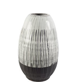 Ceramic Vase, Tanami II, Dark Brown & White, H13""