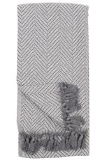 White Grey Large Fishbone Turkish Towel