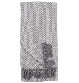 White Grey Large Fishbone Turkish Towel