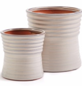 Large Ivory Linear Pattern Flute Pot