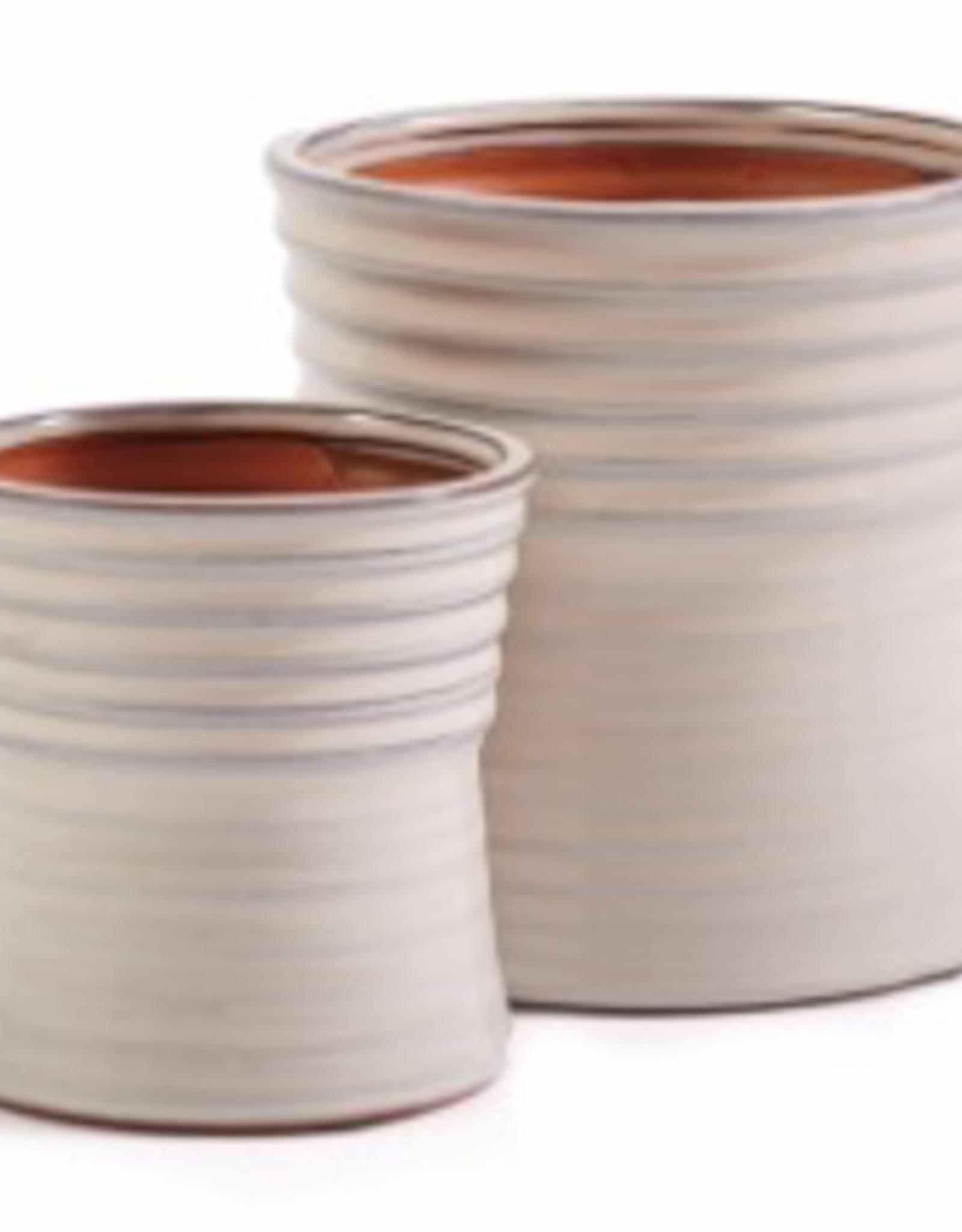 Small Ivory Linear Pattern Flute Pot