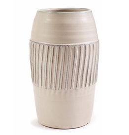 Ivory Linear Pattern Flute Vase