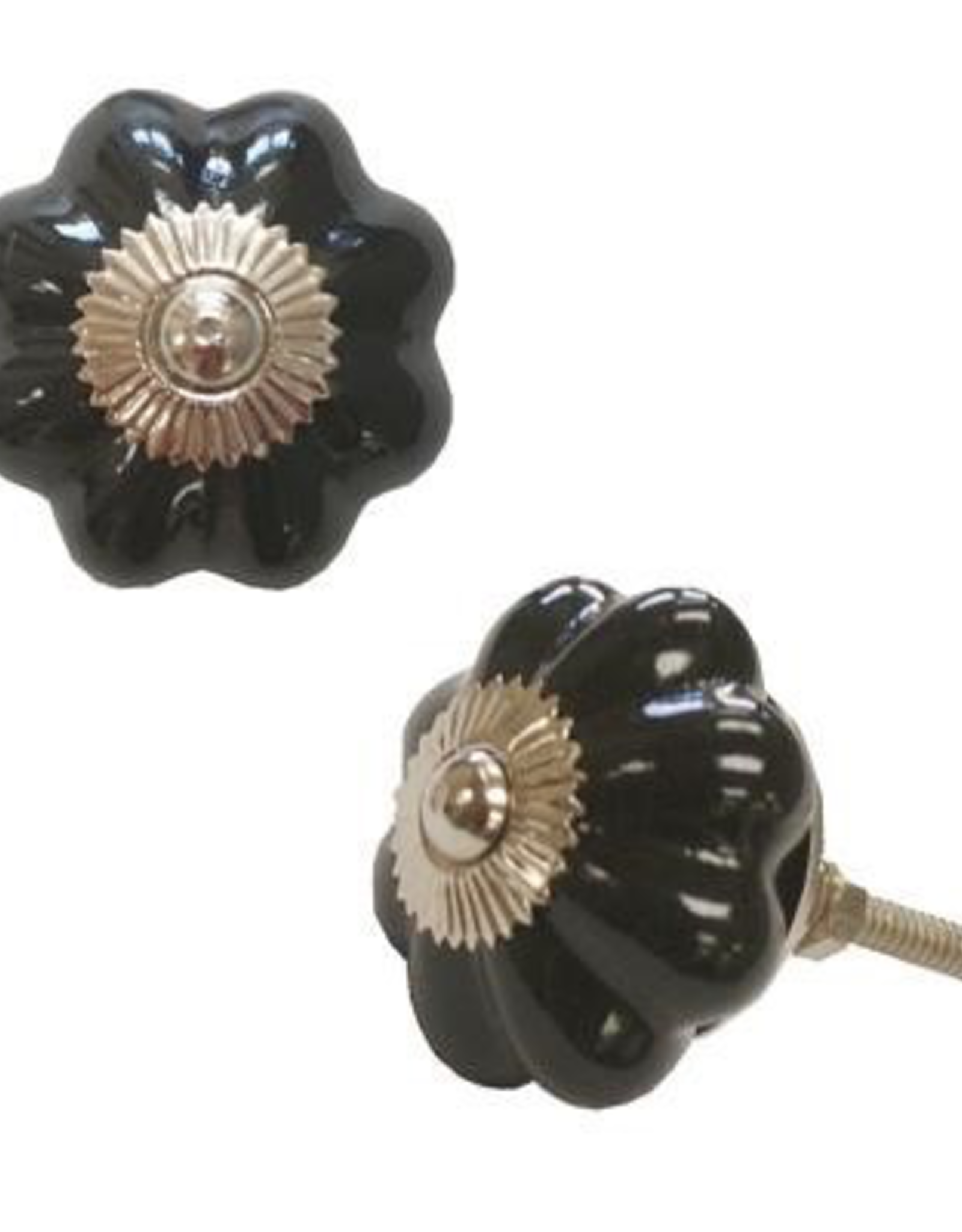 Black Ceramic Pumpkin Door Knob