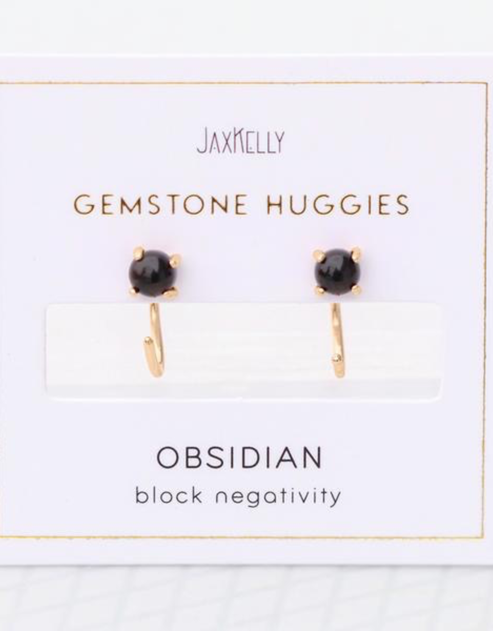 Earrings, Huggie, Obsidian, Sterling Silver Base with18k Gold Plating