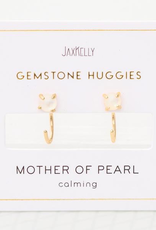 Mother of Pearl Huggie Earrings Sterling Silver Base with18k Gold Plating