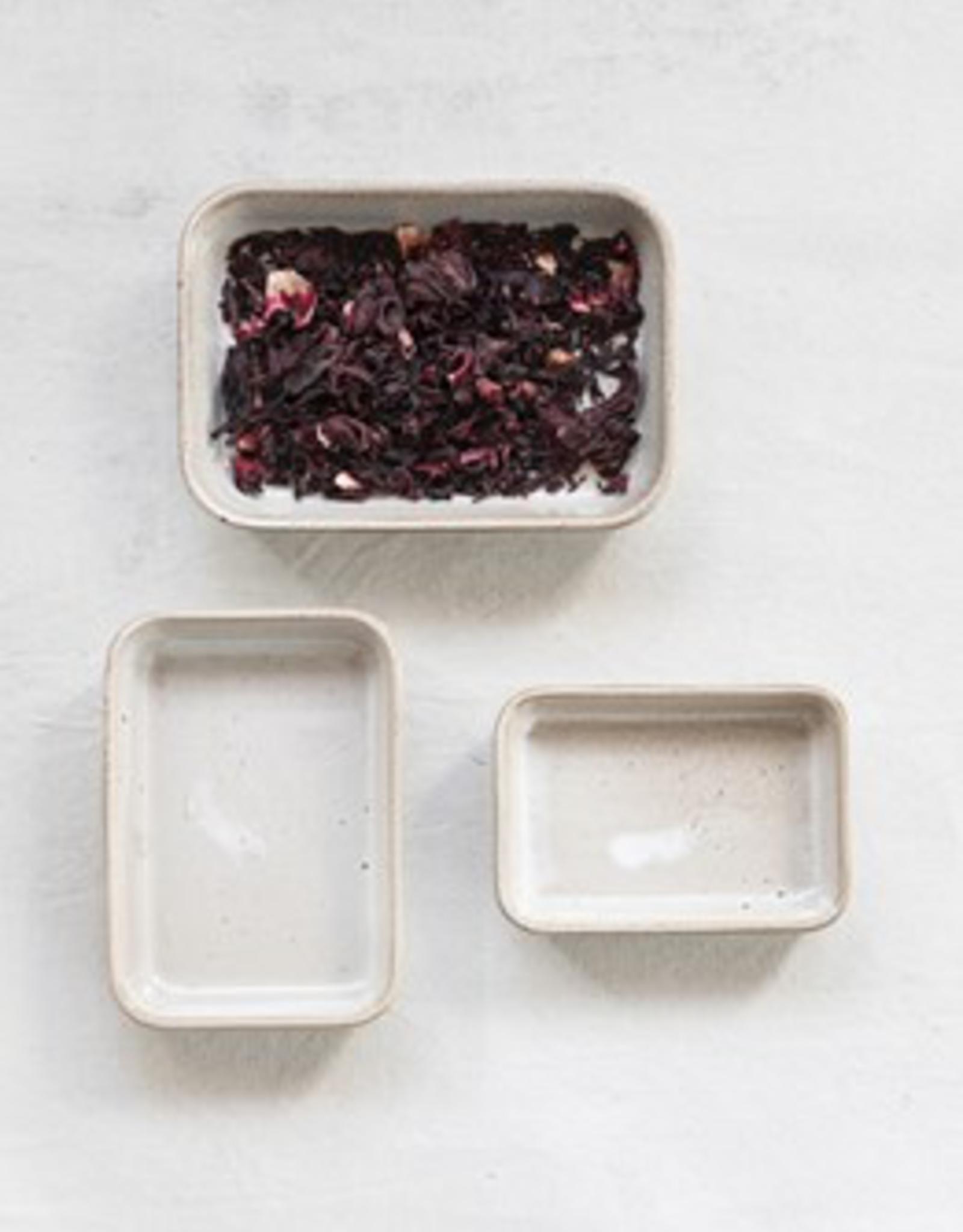 Stoneware Dish w Reactive Glaze, Beige, Med