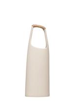 "Stoneware Vase, Rattan Wrapped Handle, White, H19"""