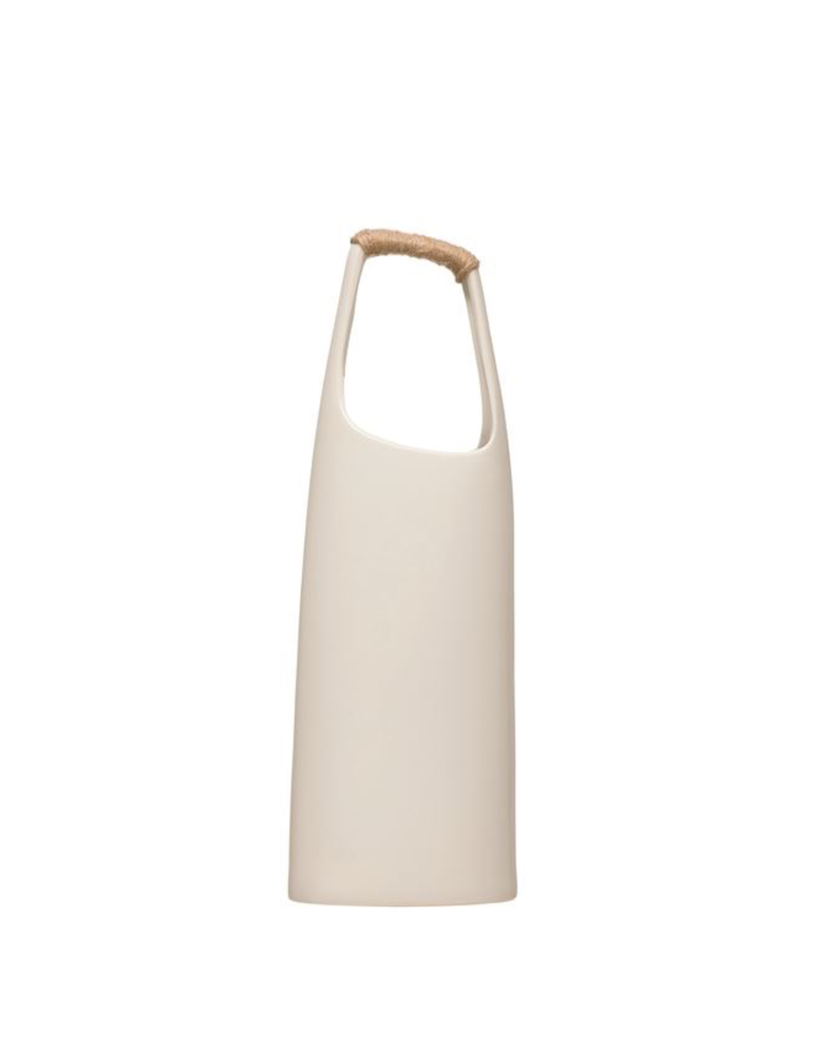 "Stoneware Vase, Rattan Wrapped Handle, White, H15"""