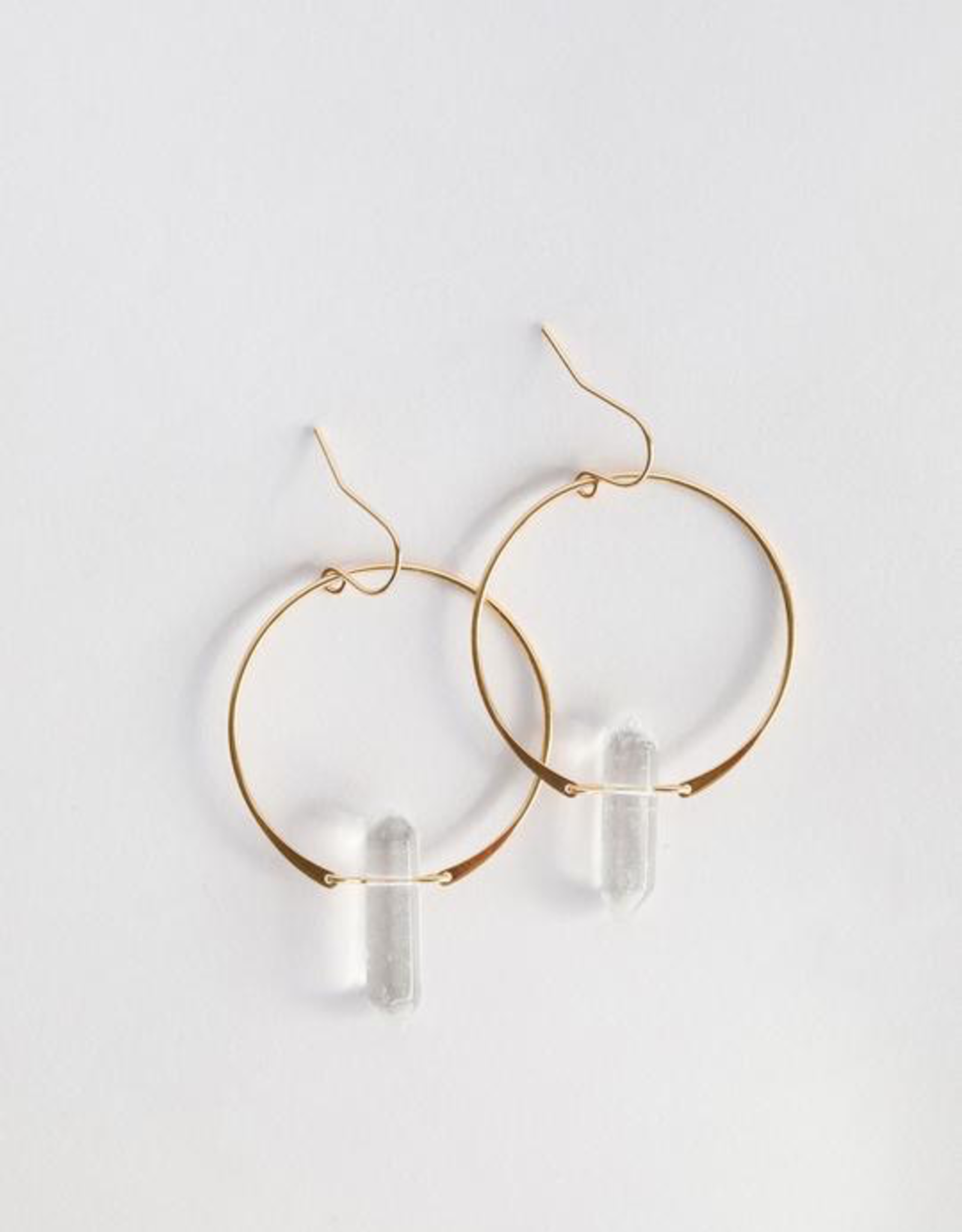 Hoop Earring, Clear Quartz, 18K Gold Plating over Sterling Silver