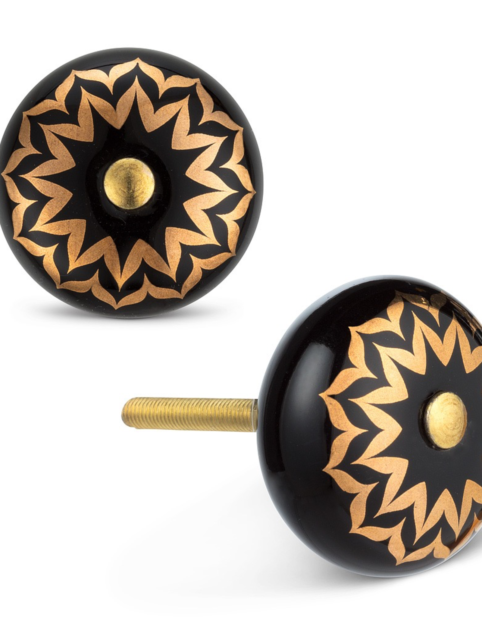 Black & Gold Flower Knob