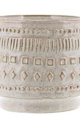 """Small Patterned Peru Pot Creamy White Glaze 5"""""""