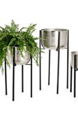 """Planter, On Stand, Aluminum Pot, Small, D10.75"""" H19.25"""""""