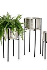 "Planter, On Stand, Aluminum Pot, Medium, D12.75"" H23.25"""