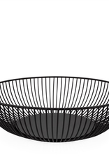 "Basket, Linear Rib, Short, Black, Metal, D11"" H3"""