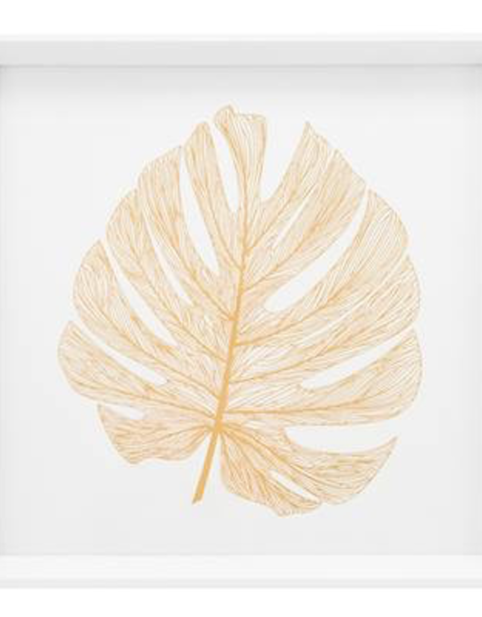 "Print, Canvas, Gold Monstera Leaf, 17"" Square"