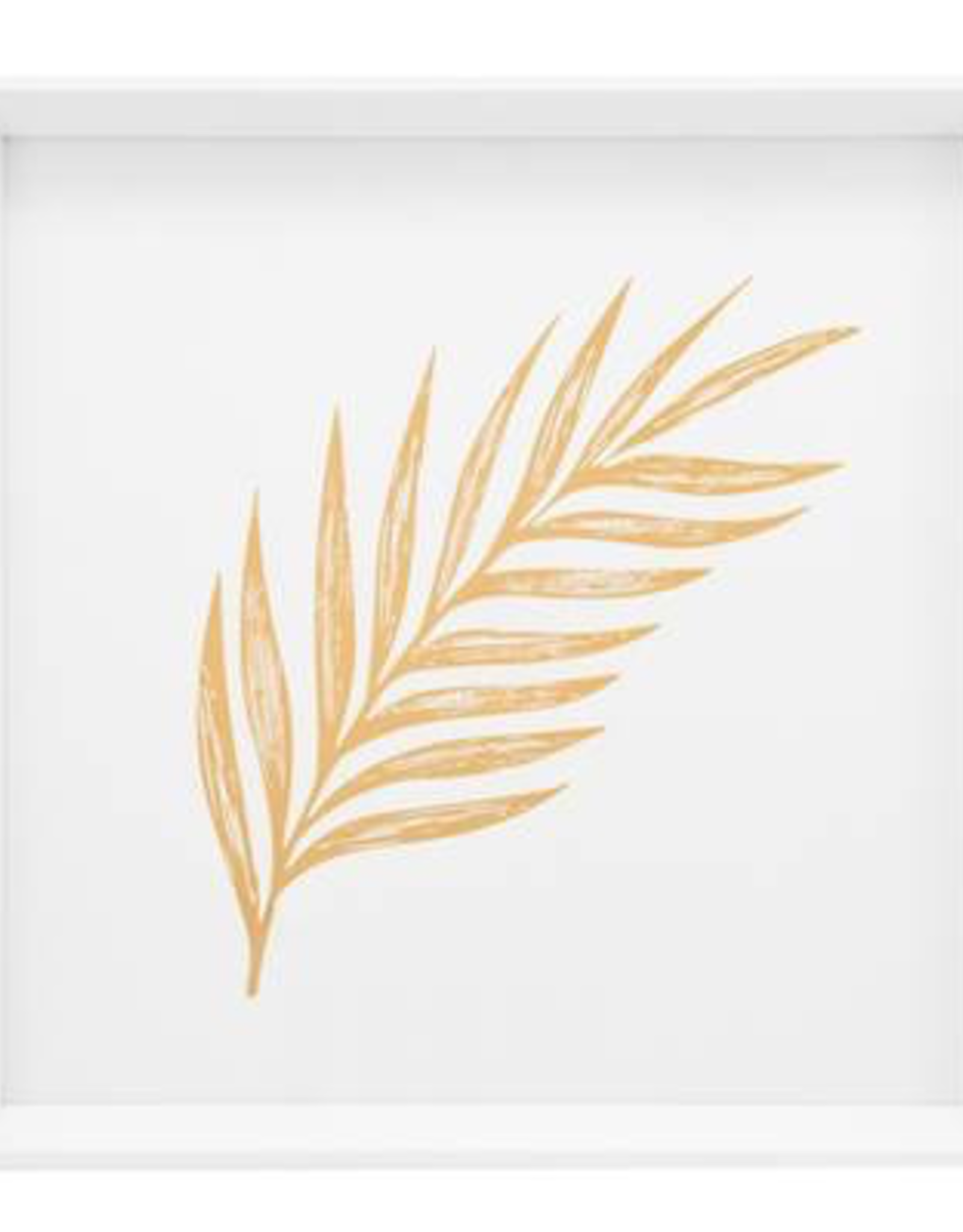 """Print, Canvas, Gold Feathered Palm Leaf, 17"""" Square"""