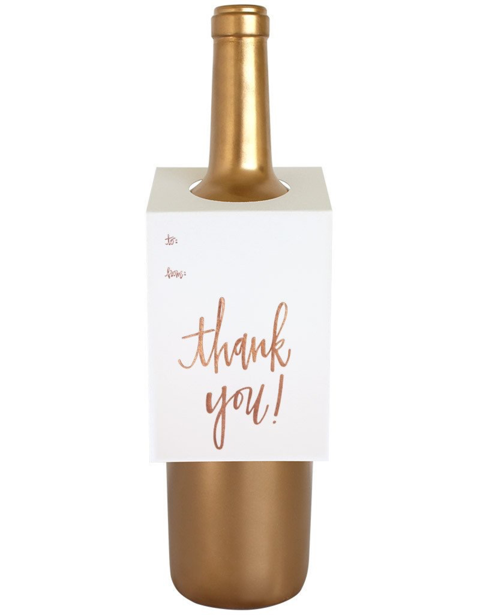 Card, Wine Tag, Thank You, Rose Gold Foil