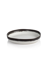 Shallow Bowl, White with Black Rim, Ceramic, D 9""