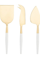 Cheese Knife Set, White & Gold, 3 Piece