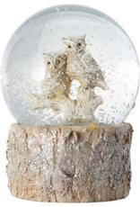Bark Base Owl Pair Christmas Snow Globe