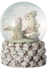 Pine Cone Base Forest Birds Christmas Snow Globe