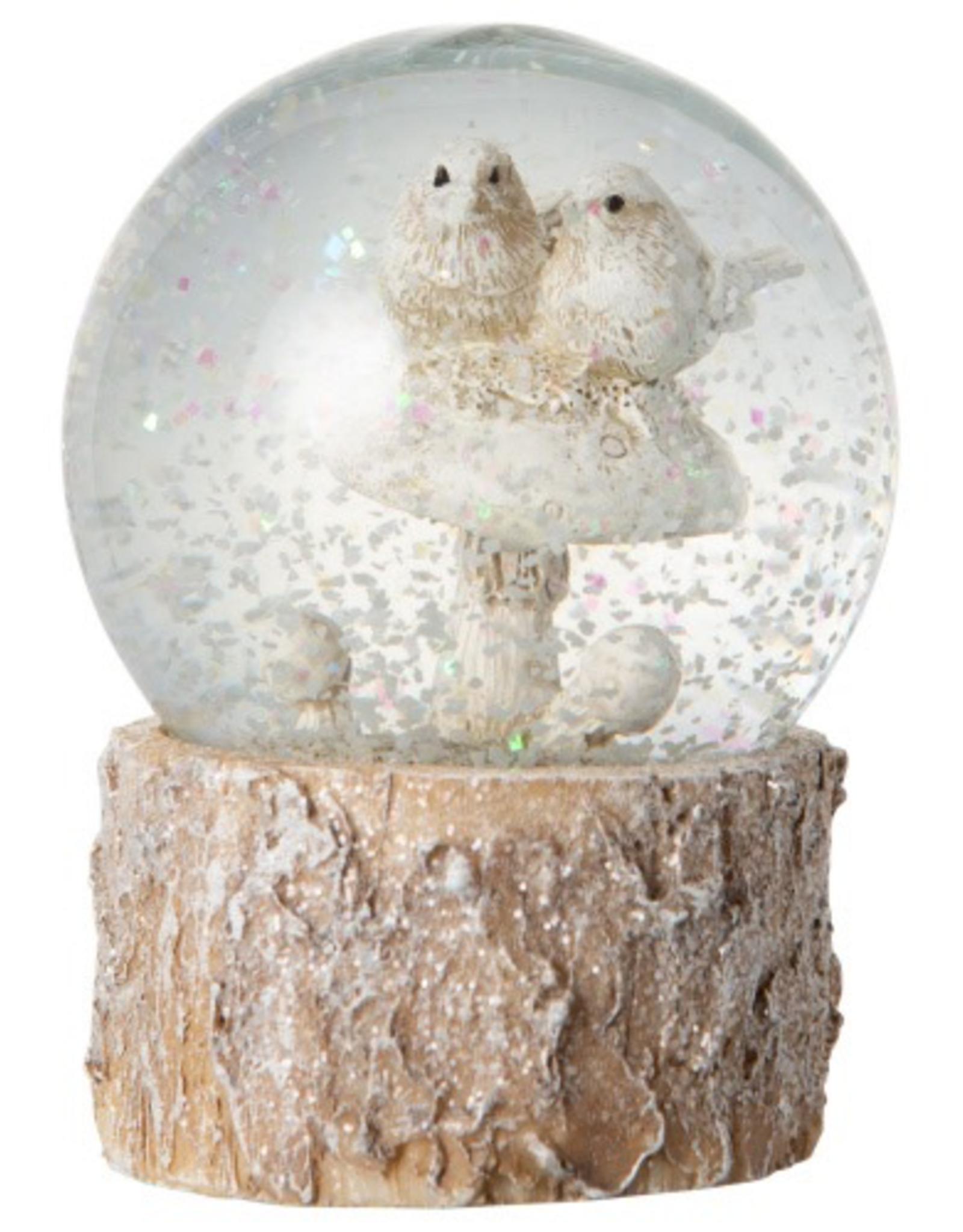 Doves on Mushroom Christmas Snow Globe