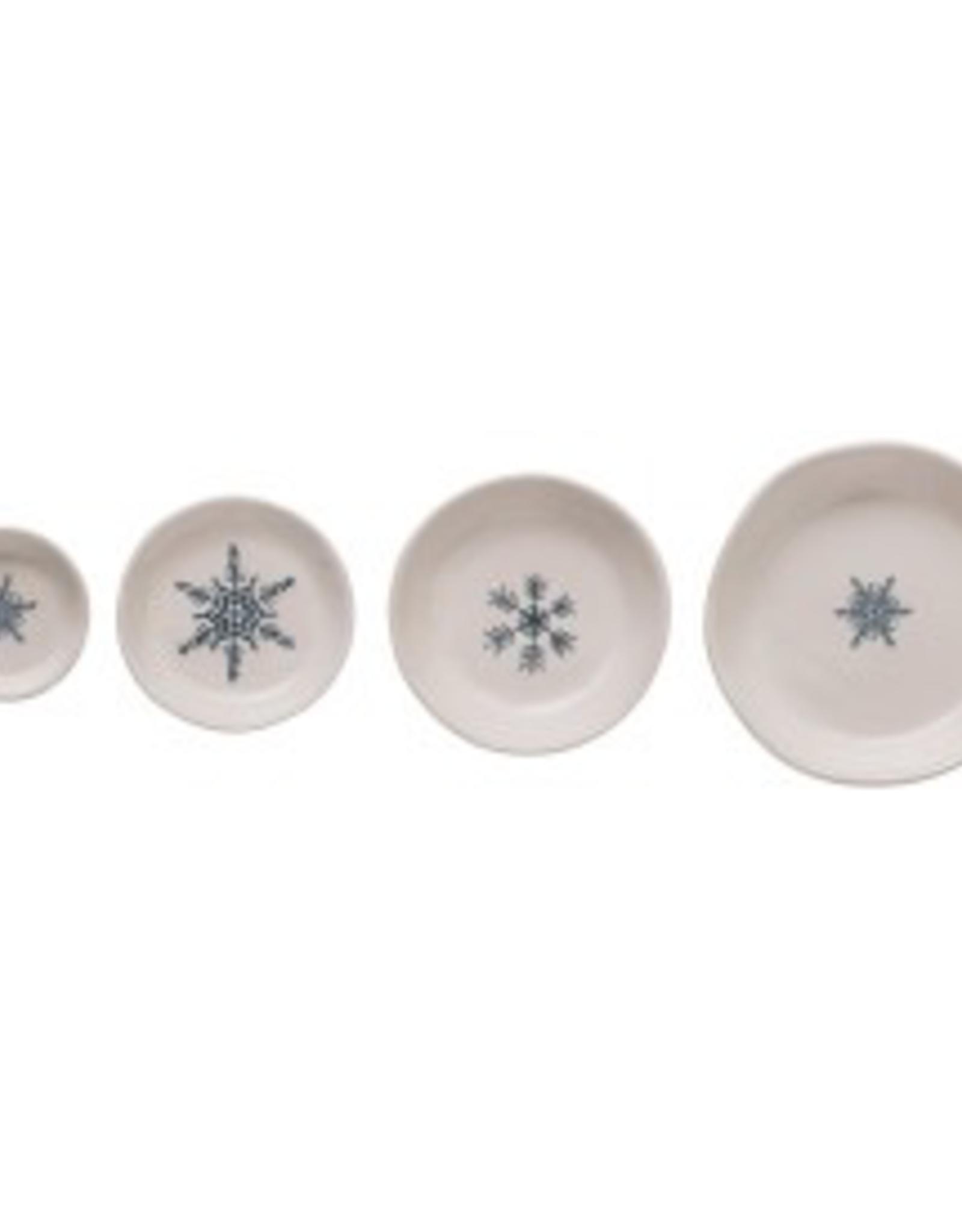 Medium White & Blue Hand Painted Stoneware Snowflakes Round Dish