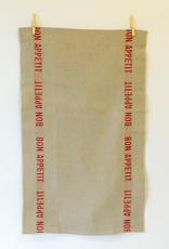 Tea Towel Linen, Bon Appetit, Natural with Red Letters