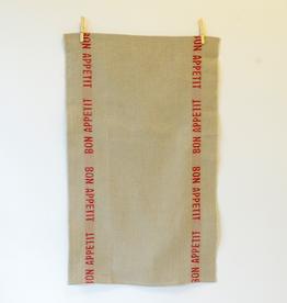 BON APPETIT Natural with Red Letters Linen Tea Towel
