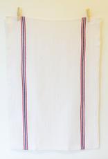 Linen Tea Towel, Drapeau White, Red & Navy Stripe
