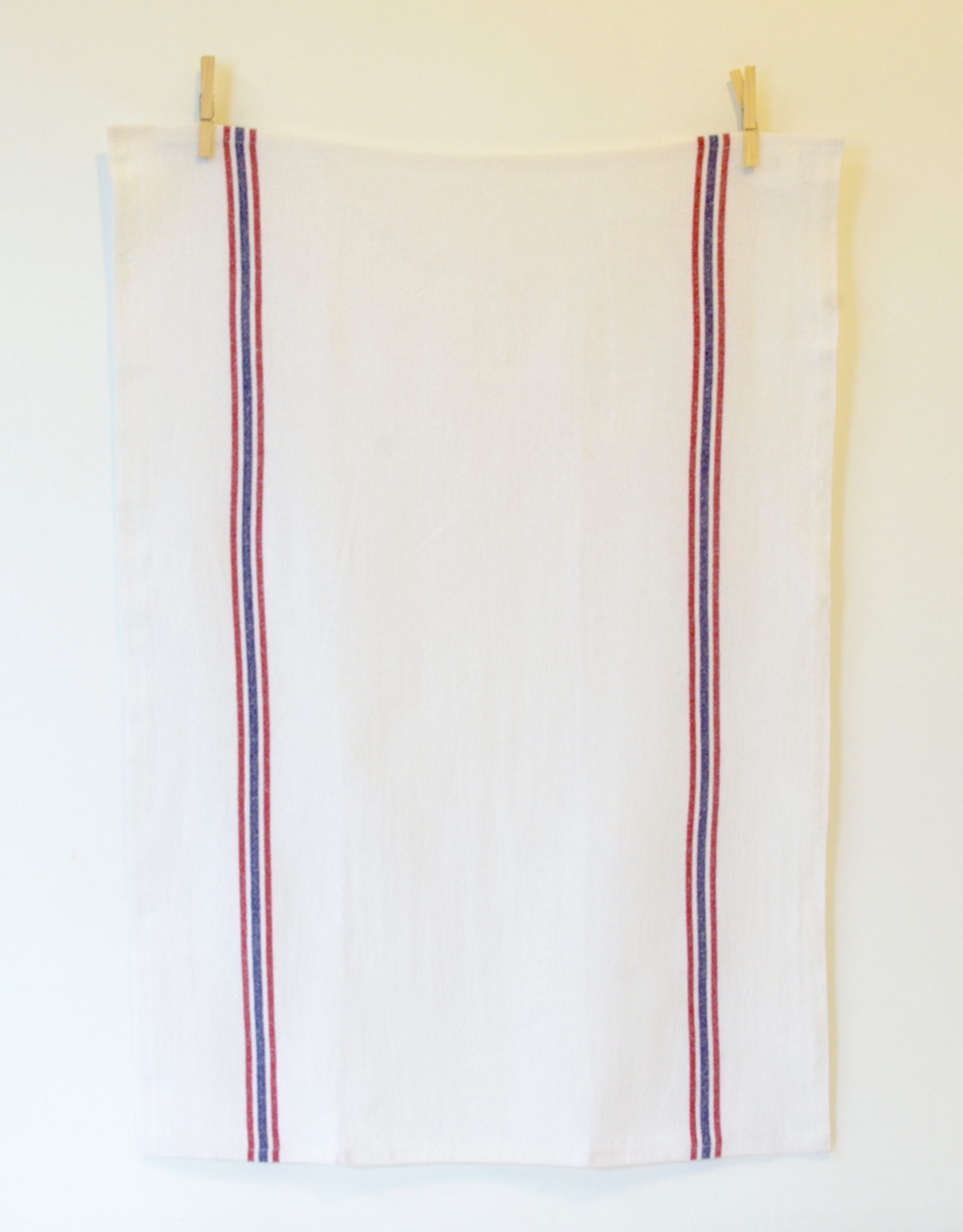Drapeau White with Red & Navy Stripe Tea Towel