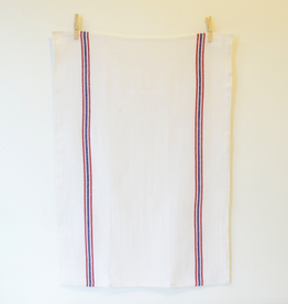 Drapeau White with Red & Navy Stripe Tea Towel