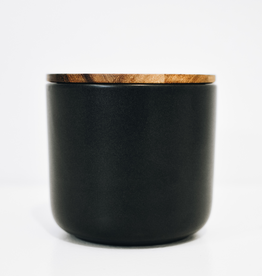 Large Black Stoneware Container with Acacia Lid