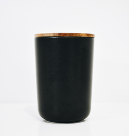 X-Large Black Stoneware Container with Acacia Lid