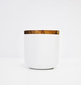 Medium White Stoneware Container with Acacia Lid