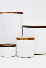 Container, Stoneware With Acacia Lid, Extra Large, White
