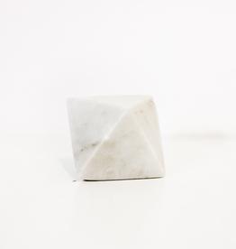 White Soapstone Octahedron Geometric Object