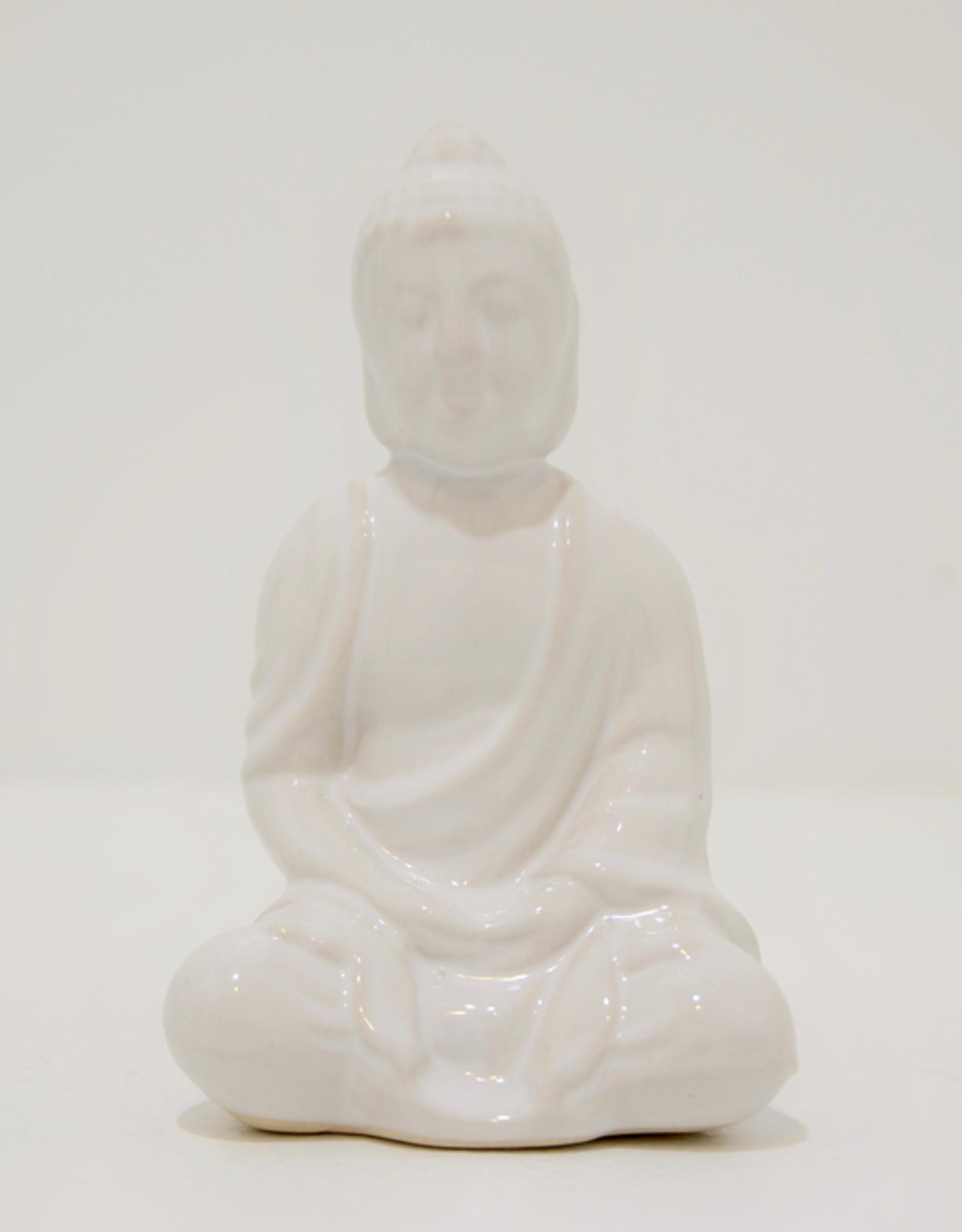 Sitting Buddha, Glazed White