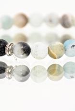 Bracelet, Matte Amazonite Stone with Lava Beads, Be Balanaced
