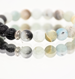 Bracelet, Matte Amazonite Stone with Lava Beads, Be Balanaced