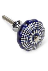 Blue and White Graphic Drawer Knob