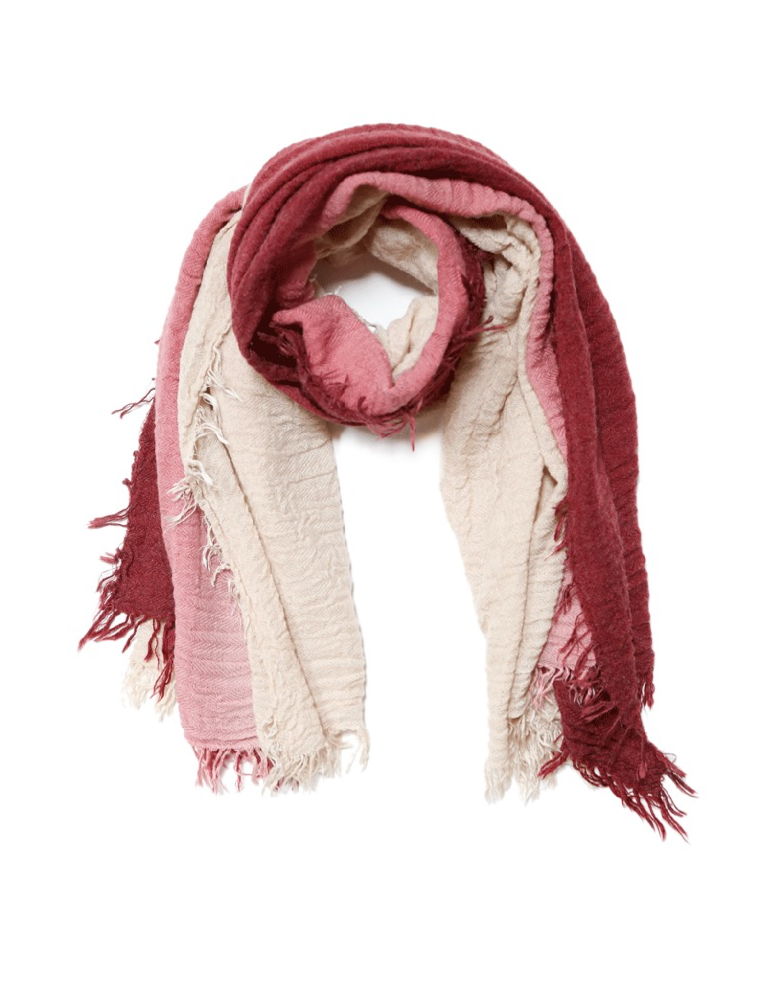 Scarf, Two-Toned - Sand/Burgundy