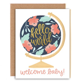 Card, Welcome Baby Globe