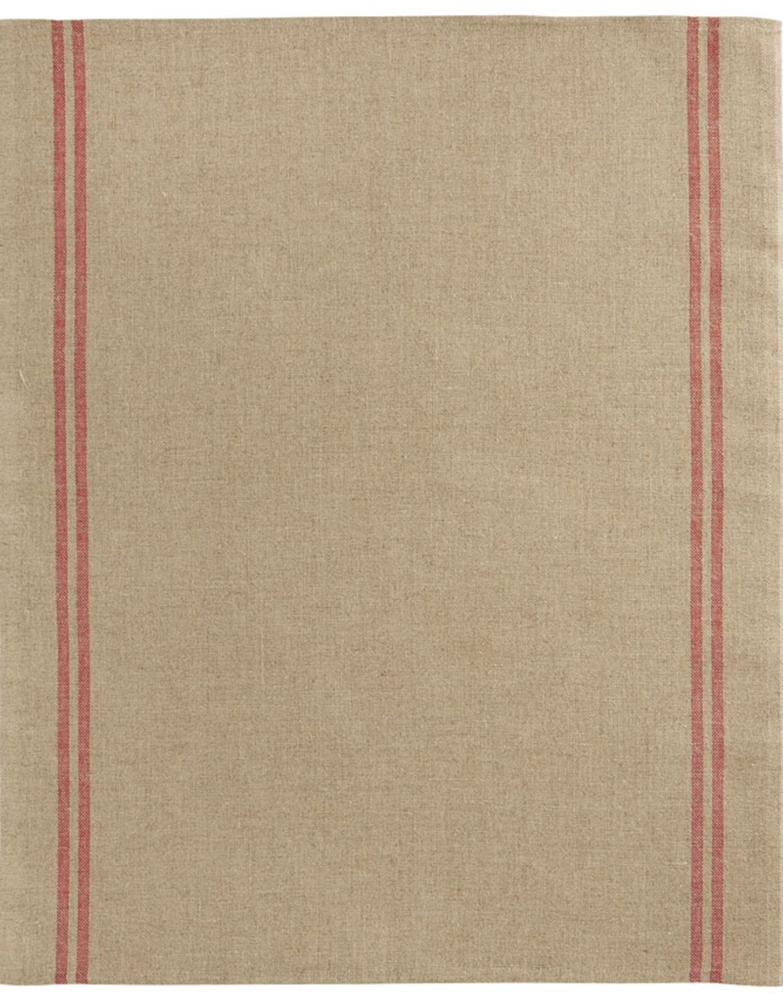 Tea Towel, Linen, Country Used Beige with Red Stripe