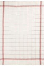 Tea Towel Linen, Bistro Red, Beige with Red Plaid