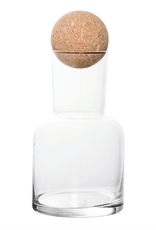 Decanter, Glass, W/Round Cork Lid, 32 oz