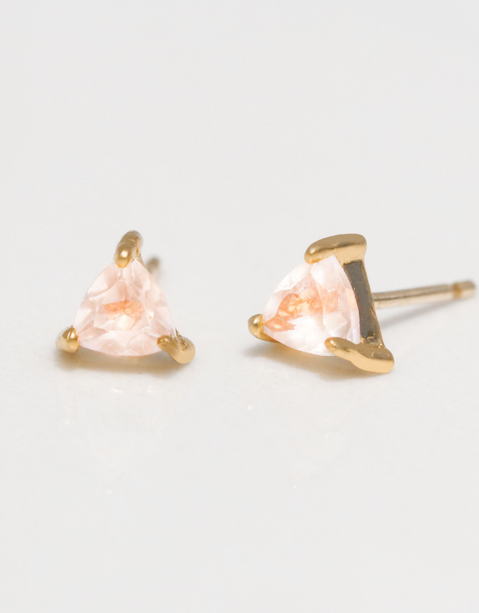 Earrings, MIni Energy Gem, Rose Quartz, Sterling Silver Base with18k Gold Plating