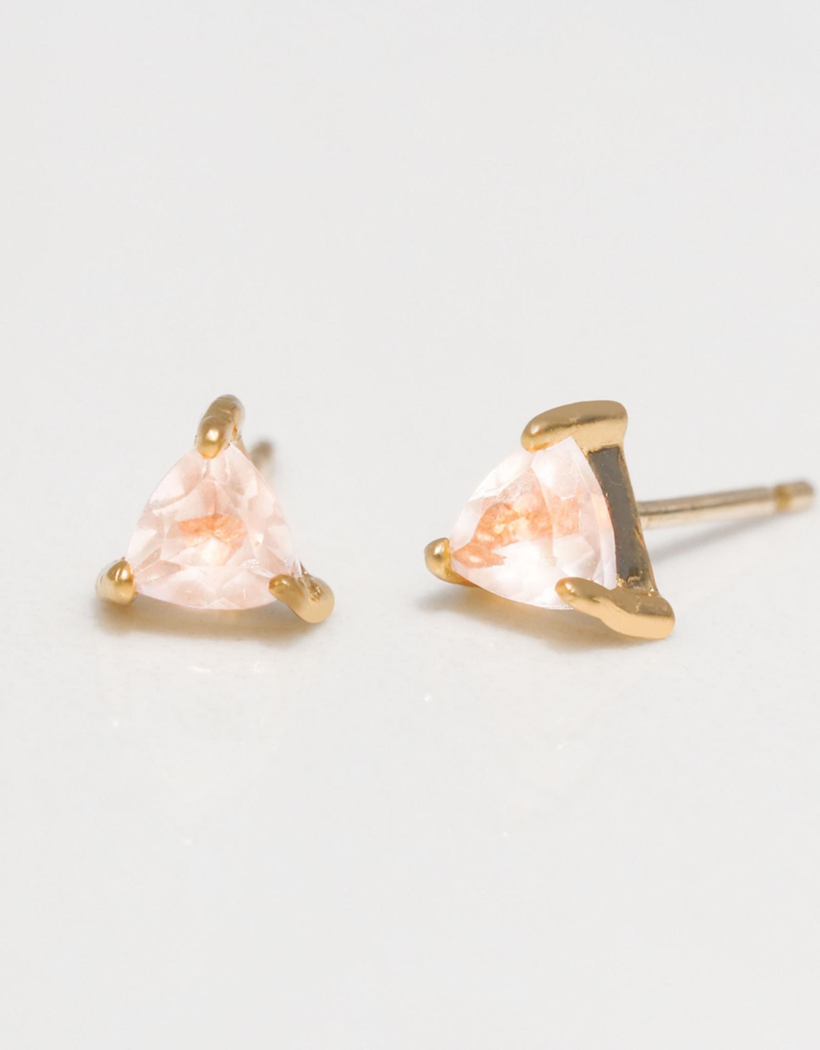 Rose Quartz Mini Energy Gem Earrings Sterling Silver Base with18k Gold Plating