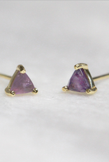 Earrings, Mini Energy Gem, Amethyst, Sterling Silver Base with18k Gold Plating